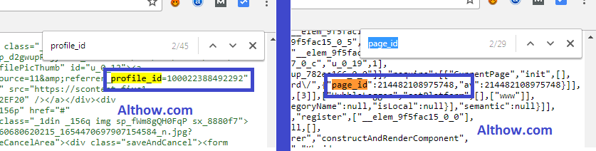 Facebook ID Found from Source code