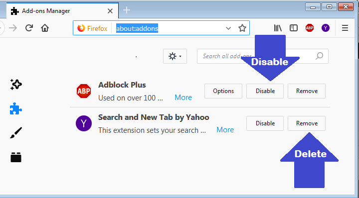 Disable and remove Extensions from Mozilla Firefox
